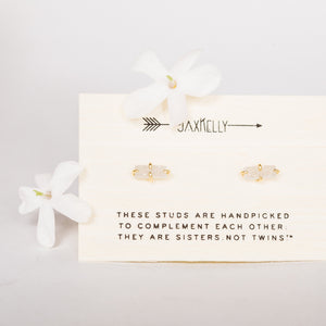 White Druzy Bar Stud Earrings by Jax Kelly