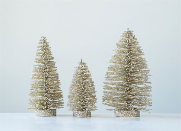 Round Glitter Bottle Brush Trees