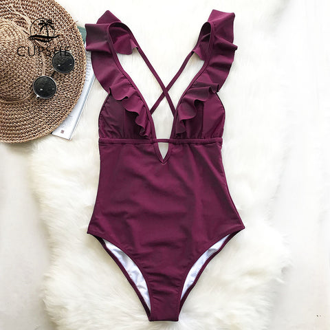 CUPSHE Burgundy One-piece Swimsuit