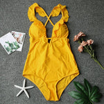 Yellow Solid One Piece Swimsuit