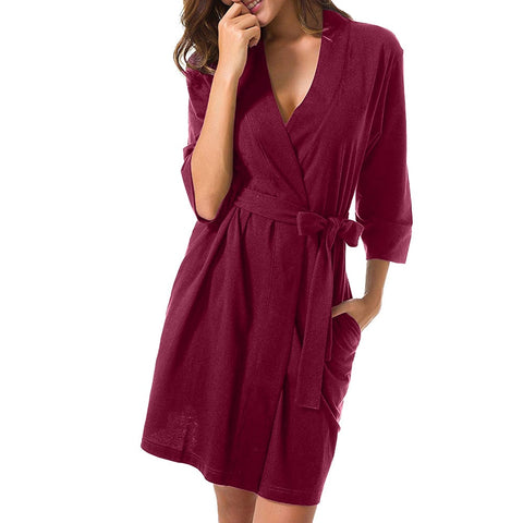 Women Solid 3/4 Sleeved Bathrobe