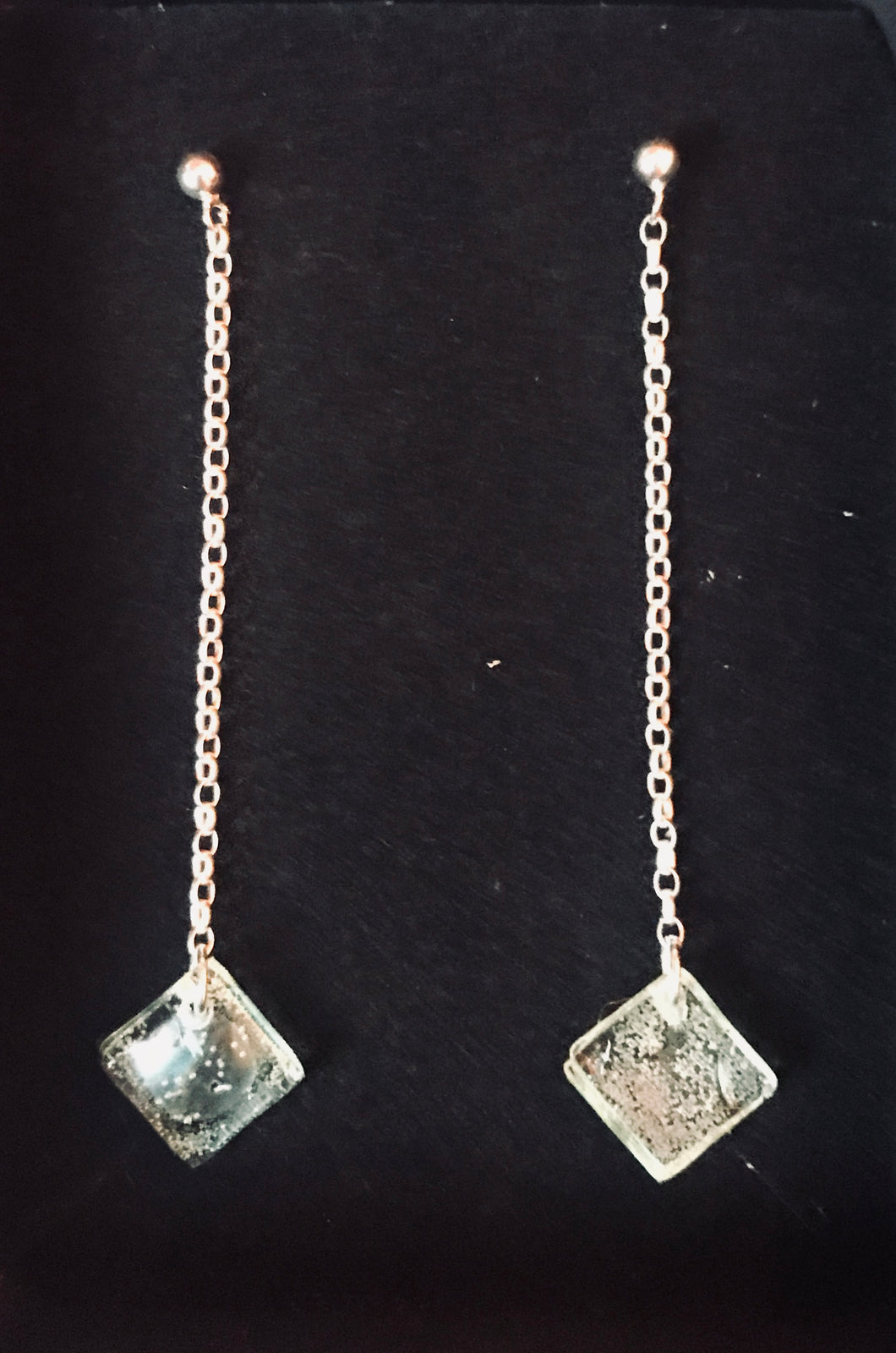 Sterling Silver Chain CD Gem Drop Earrings
