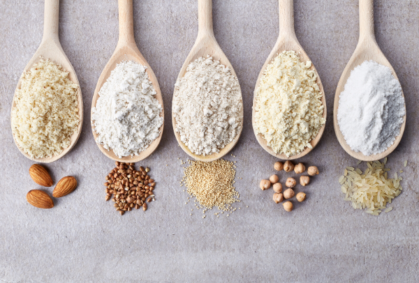 different types of flour, gluten or grain free
