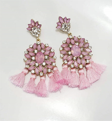 Pink Designer Tassel Earrings