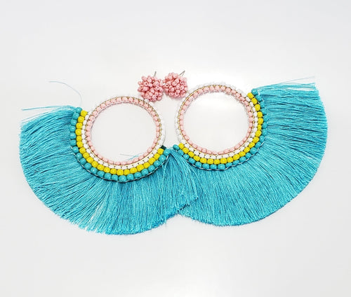 Blue and Peach Tassel Earring