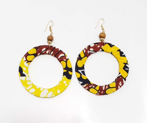 Yellow African Print Hoop Earrings