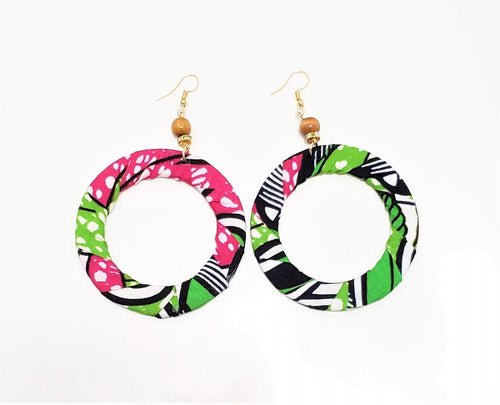 Pink African Print Hoop Earrings