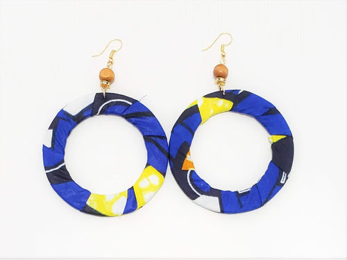 Blue African Print Hoop Earrings