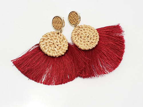 Burgundy Wood Tassel Earrings