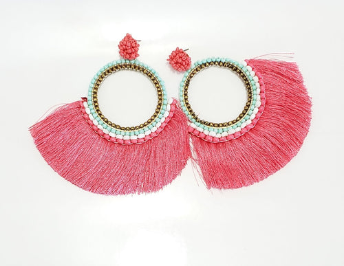 Peach Beaded Tassel Earrings