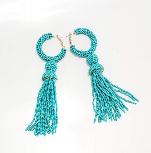 Long Beaded Beauty Drop Earrings (Different Colors Available)