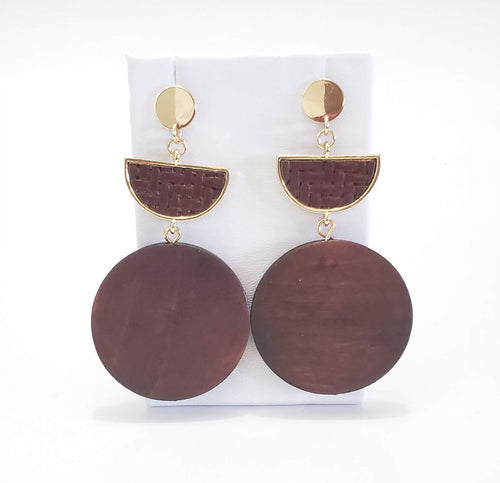 Angolian wooden drop earrings