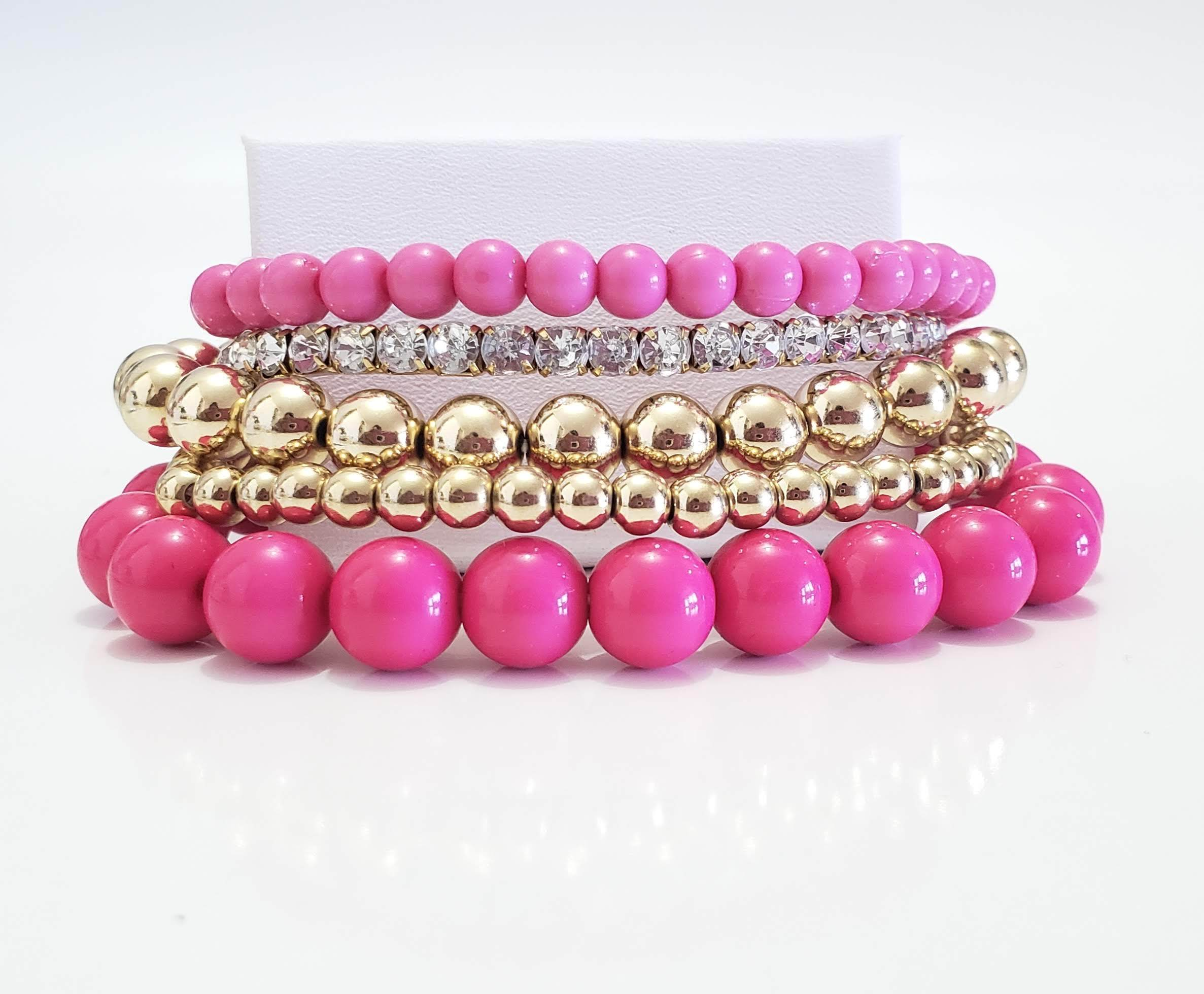 Pink and Gold Bead Bracelet