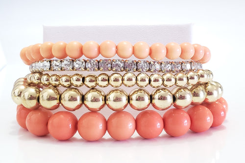 Orange and Gold Bead Bracelet