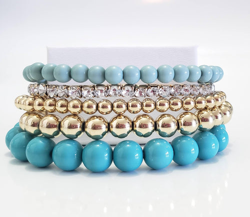 Blue and Gold Bead Bracelet