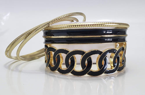 Black and Gold Bracelet Stacks