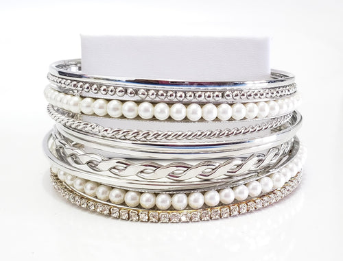 White and Silver Bracelet Stacks