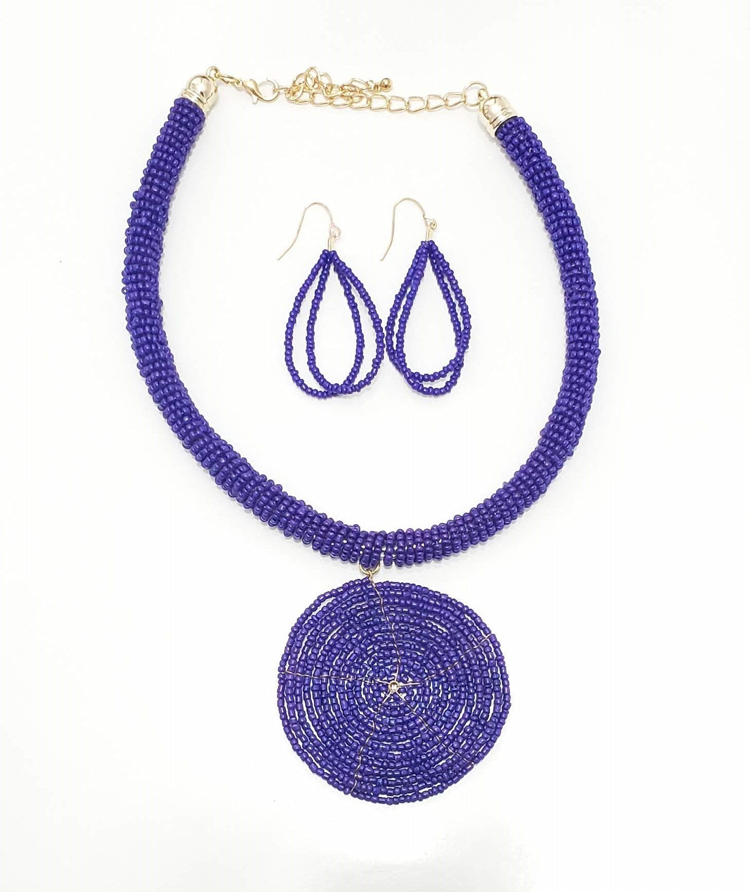 Circle Beaded Necklace Set ( Multiple Colors)