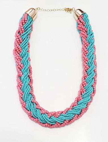 Pink and Blue Beaded Necklace Set