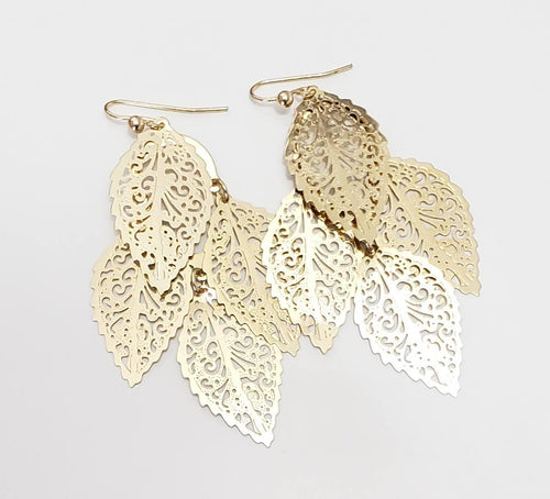 Golden Feathered Earrings