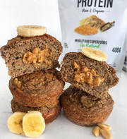 Peanut Butter Stuffed Banana Muffins