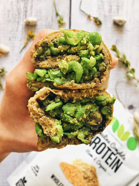 Protein-packed mashed avo & cheese peas turmeric roll