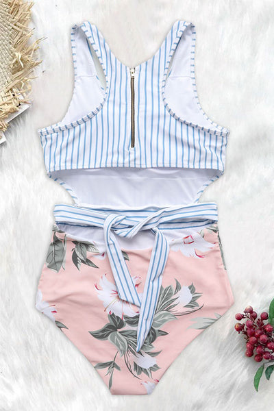 Eavah Striped Patchwork Blue One-piece Swimsuit