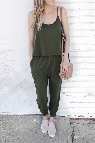 Eavah Casual Layered Solid One-piece Jumpsuit