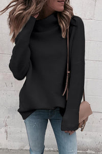 Eavah Casual Turtleneck Black Sweaters