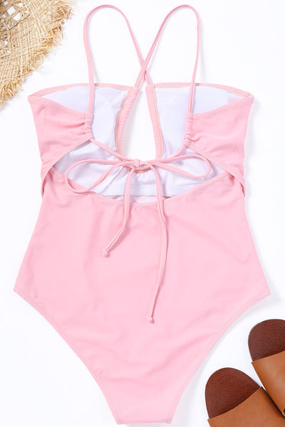 Eavah Hollowed-out Pink One-piece Swimsuit