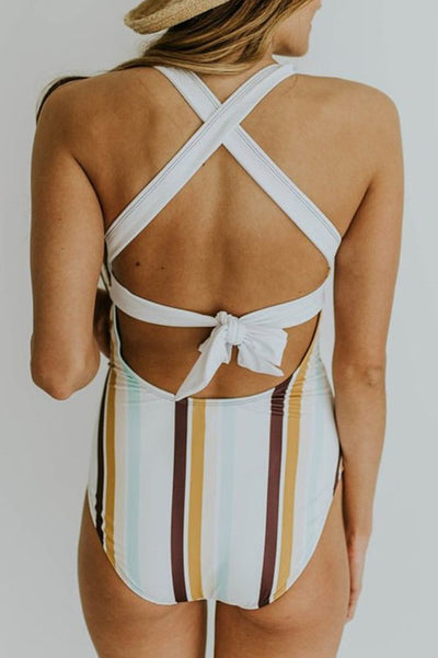 Eavah Lace-up Striped Printed One-piece Swimsuit