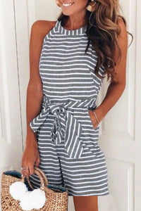 Eavah Waist Bow-tie Striped Loose Rompers