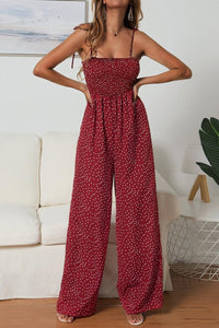Eavah Dots Printed Wine Red One-piece Jumpsuit
