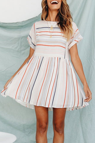 Eavah Striped Ruffle Loose Mini Dress