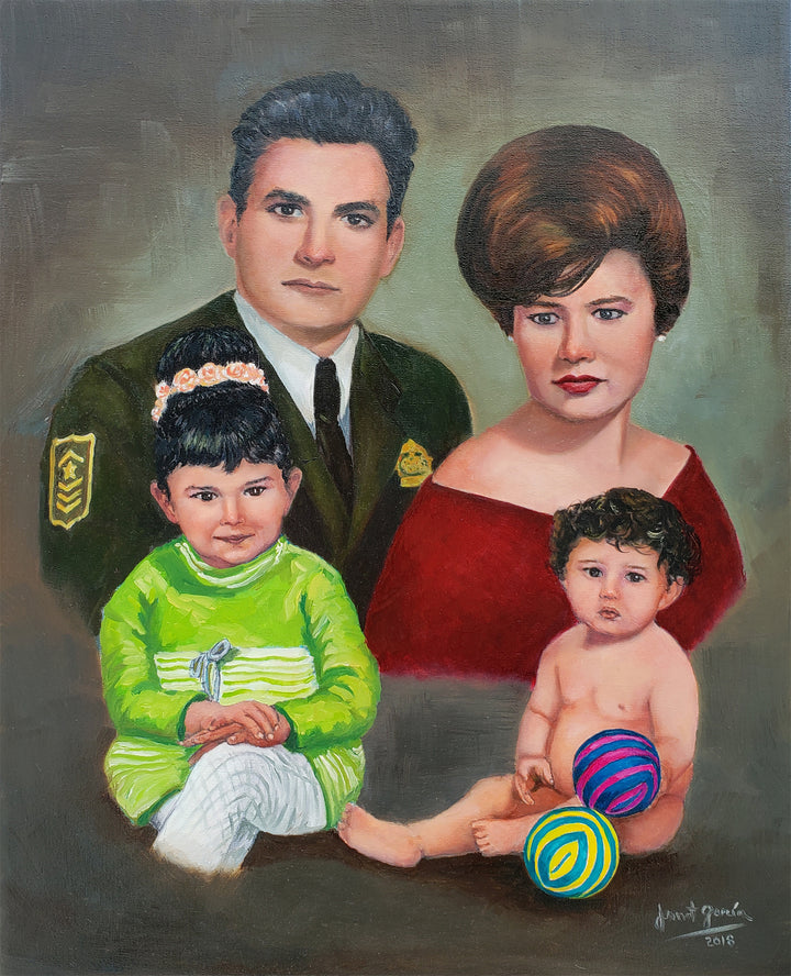 Family Portrait Painting Process - Commissioned work