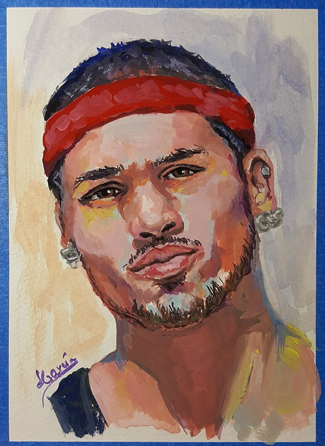 Basketball Player in Gouache