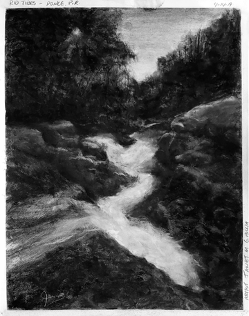 Rio Tibes - Ponce Puerto Rico - Charcoal Drawing