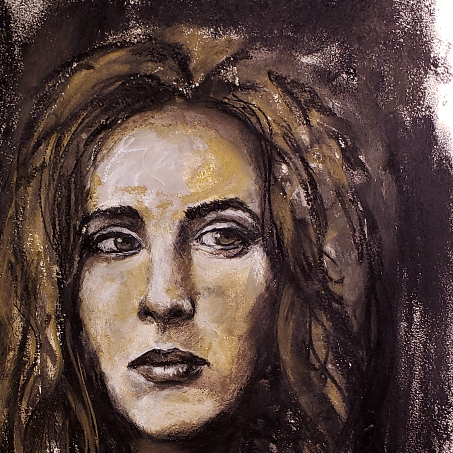 expressionist charcoal portrait close up 1