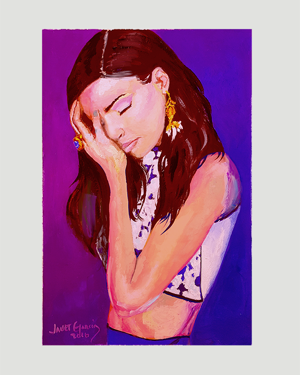 Troubled - Gouache Portrait