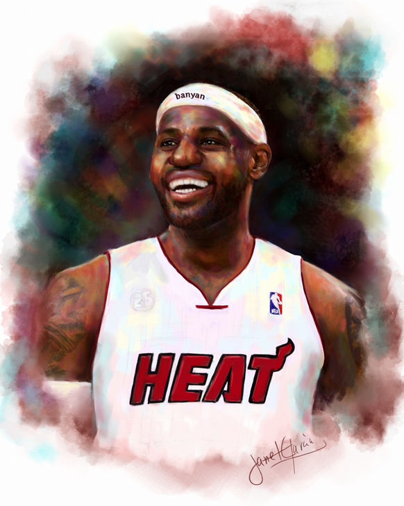 Pastel Portrait - LeBron James from Miami Heat