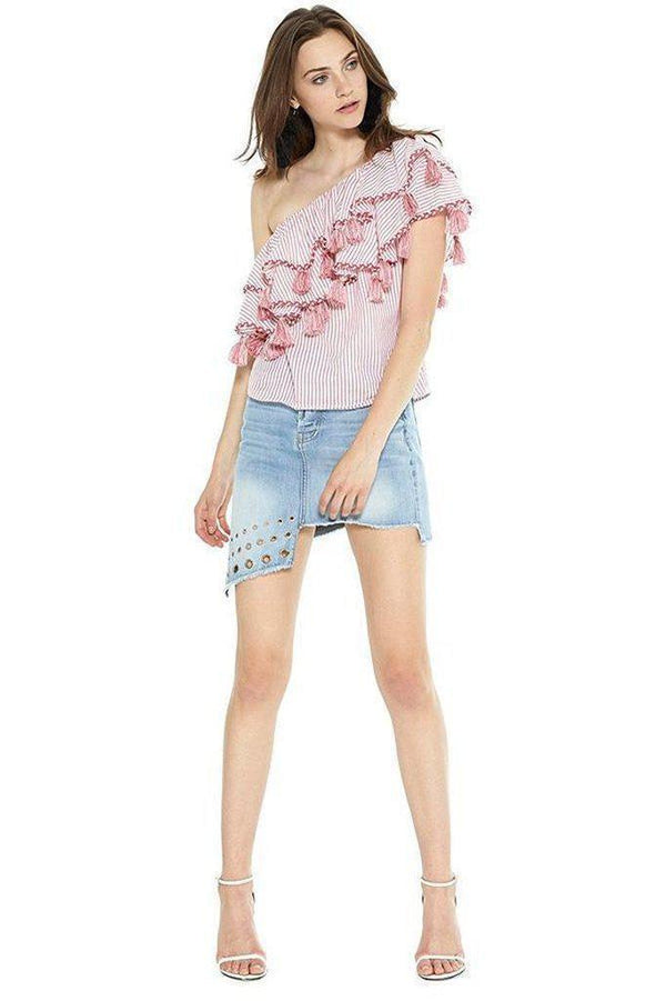 Linnea Top in Red Stripe Clothing Misa Los Angeles GATP63115-XS XS