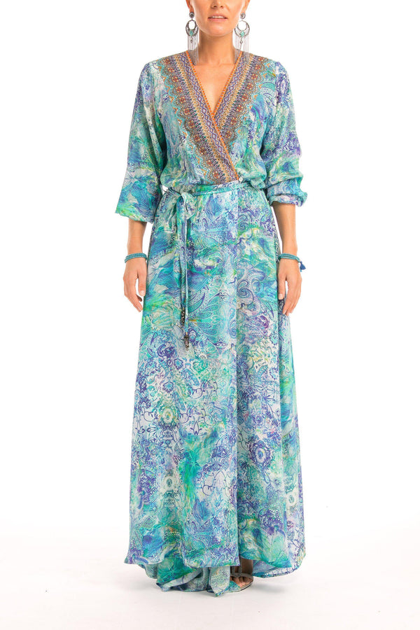 Luxe Silk Robe in Amalfi Azure Clothing Inoa ROBE1822-0 0