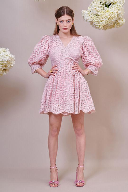 Pink Petalled Mini Wrap Dress Clothing Sister Jane