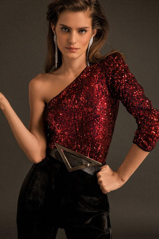 Sequin One Shoulder Top Clothing Iorane