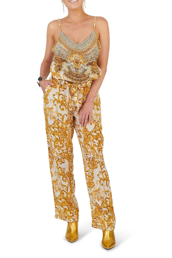 Valletta Jumpsuit in White/Gold Clothing Inoa