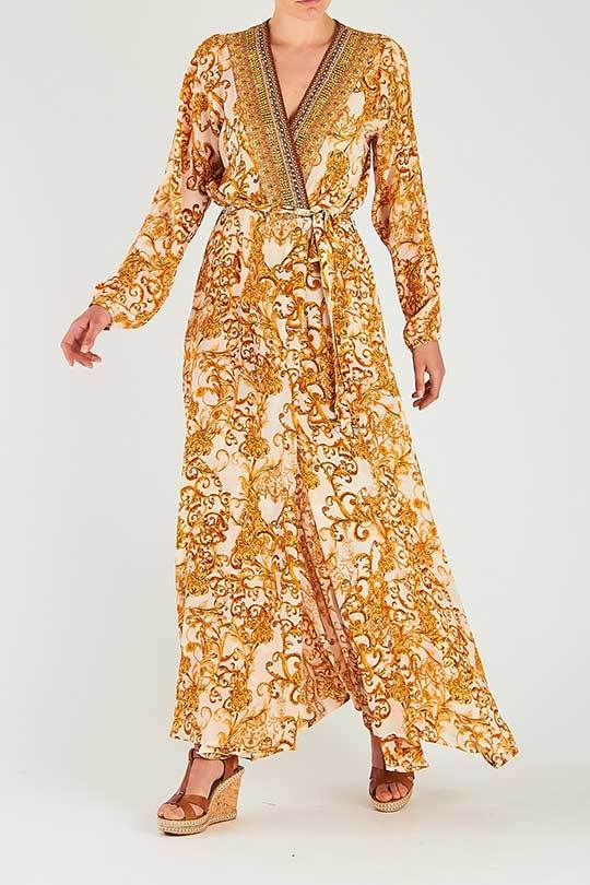 Valletta Silk Robe in White/Gold Clothing Inoa