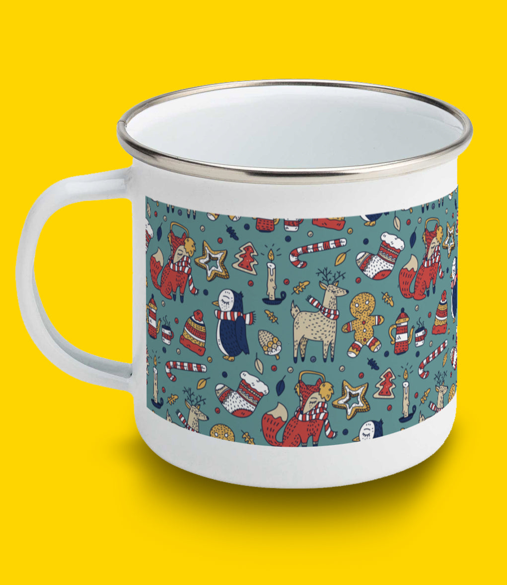 Cute Christmas Pattern Enamel Mug