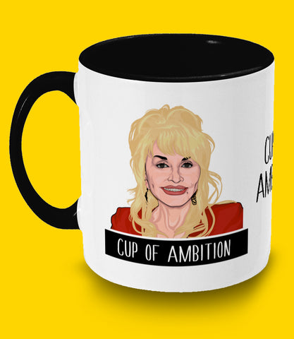 Dolly Parton Cup of Ambition Illustrated Two Toned Mug