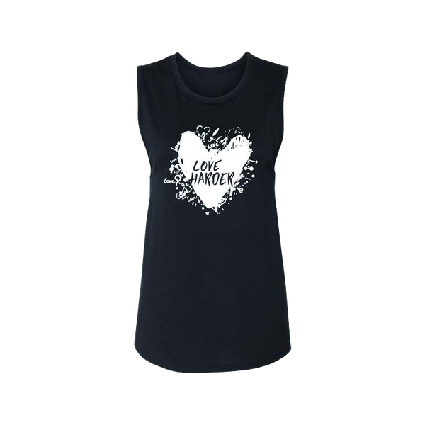 Love Harder - White Heart - Muscle-Tank Tops-LollyDagger