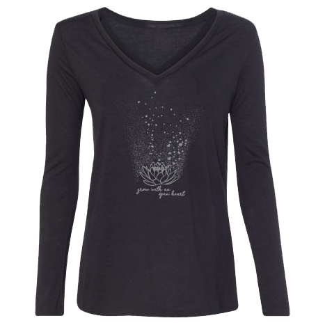 Grow with an Open Heart - Lotus Flower-Long Sleeve T-Shirts-LollyDagger